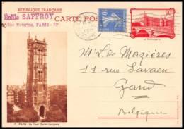 5052 Paris Baslique Tour St Jacques Complement Pour Gand Belgique 1937 Carte Postale Postcard Entier Postal Stationery - Entiers Postaux
