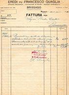 La Municipalità Di Brissago - Facture Eredi Fu Francesco Quaglia En 1931 - Suisse