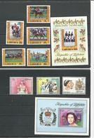 LIBERIA Scott 784-787 C216 C217, 788-790 C219 (8+2blocs) O Cote 8,40$ 1977 - Liberia