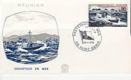 La Réunion. Sauvetage En Mer. Yvert 1791. FDC 28 Avril 1974. Cachet Saint-Denis - Reunion Island (1852-1975)
