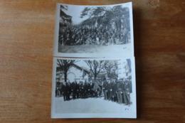 2 Photos Vers 1900  Fanfare Et Pompiers  Belgique  Drapeau - Photos