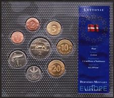 BLISTER SET LETTONIE / LATVIA - 8 Pieces - Série Dernieres Monnaies En Europe - Lettonie