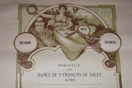 Diplôme D'honneur Belgique Ath 192? Décors Religion Arts Sciences Travail 37cm X 54cm - Diploma & School Reports