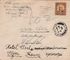 USA - ESC De Chicago Pour Gibraltar Puis Tanger (Maroc) Puis Dijon (21) - 14 Décembre 1938 - Timbre 1c1/2 Sc 684 - 4 CAD - Etats-Unis