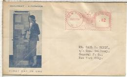 ESTADOS UNIDOS USA MAILOMAT FIRST DAY IN USE NEW YOR 1939 METER 51001 PITNEY BOWES - Estados Unidos