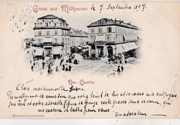 Rare CPA  : Mulhouse Mulhausen (68)  Timbre Poste Privée 3 Pf Sur CPA Neu Quartier 7 Septembre 1897 - Alsace-Lorraine