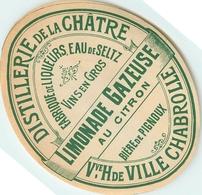 Ancienne Étiquette A4 LIMONADE SODA DISTILLERIE DE LA CHATRE LIQUEURS EAU DE SELTZ BIERE DE PIGNOUX - Other