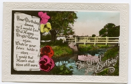 TO GREET YOUR BIRTHDAY - VILLAGE BRIDGE OVER STREAM (EMBOSSED) - Anniversaire