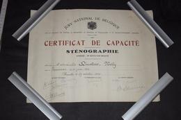 Diplôme De Sténographie Belgique Bruxelles 1940 27.5cm X 35cm - Diploma & School Reports