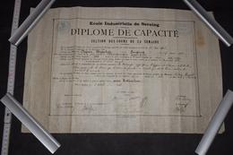 Diplôme Mécanique Appliquée Belgique Seraing 1912 32cm X 50cm - Diploma & School Reports
