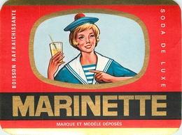 Ancienne Étiquette A4 LIMONADE SODA MARINETTE ETS HELART BRUAY EN ARTOIS PAS DE CALAIS BETHUNE - Etiquettes