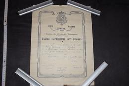 Diplôme 4éme Degré Belgique Marchienne-au-Pont 1942 30cm X 40.5cm - Diploma & School Reports