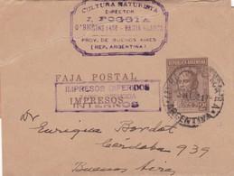 FAJA POSTAL, CULTURA NATURISTA, IMPRESO DIFERIDO TARIFA REDUCIDA, CIRCULEE BAHIA BLANCA A BUENOS AIRES AÑO 1932  - BLEUP - Entiers Postaux