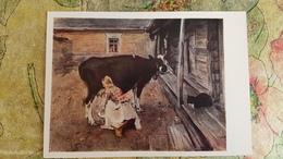 "Cat In Art - OLD USSR Postcard  - Serov ""Finland Yard""  1962 - Chat - Chats"