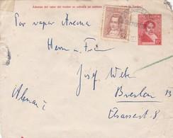 ENTERO POSTAL 10c MAS TIMBRE 5c CIRCULADO A ALEMANIA 1936- BANDELETA PARLANTE - BLEUP - Entiers Postaux
