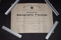 Diplôme De Sténographie Française Médaille D'argent Belgique Bruxelles 1942 36cm X 27cm - Diploma & School Reports