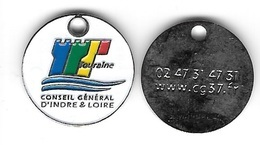 Jeton De Caddie  Argenté  Ville, Département  CONSEIL  GENERAL  D ' INDRE  ET  LOIRE  ( 37 ) Recto  Verso - Trolley Token/Shopping Trolley Chip