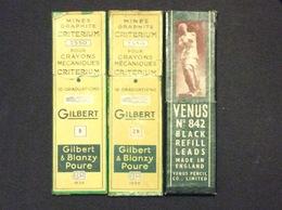 2 ÉTUIS MINES GRAPHITES CRITÉRIUM Gilbert  2 B & B + 1 ÉTUI BLACK TEFILL LEADS  Venus No 842 - Autres Collections