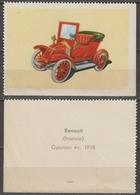Renault 1918 FRANCE Oldtimer Oldsmobile Auto Veteran Car Automobile Hungary Offset  LABEL CINDERELLA VIGNETTE - Coches