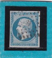 """N° 14 A   OBLITERATION DE PARIS """"H"""" Lettre  Romaine  -REF ACDIV - - 1853-1860 Napoleon III"""