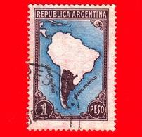 ARGENTINA - Usato -  1947 - Mappa Del Sud America - 1 - Argentine