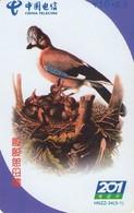 TARJETA TELEFONICA DE CHINA. AVES - BIRDS. Bird & Chicks. HNZZ-34(3-1). (645). - Pájaros