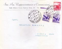 ITALY : 1948 COMMERCIAL COVER : POSTED FROM FERR. CORRISP 7 FOR LUINO, CREVA, SOC. AN. RAPPRESENTANZE E COMMISSIONI - 6. 1946-.. Republic
