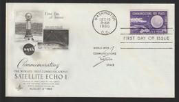 M 1064) USA 1960 Mi# 803 FDC: Nachrichten-Verbindung Für Frieden Satellit Echo 1 - Wissenschaften
