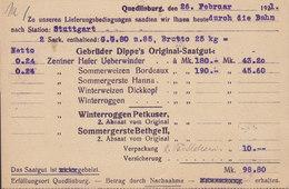 Germany Deutsches Reich GEBRÜDER DIPPE Aktiengesellschaft QUEDLINBURG 1921 Card Karte STUTTGART 30 Pf. Germania - Allemagne