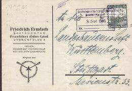 Germany Deutsches Reich FRIEDRICH ERMISCH Saatzüchter FRANKFURT (Oder)-Land 1935 Card Karte STUTTGART Eisenbahn - Deutschland
