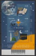 M 1057) Brasilien 2001 Mi# 3126-28 Bl 114 **: 3 Kalender: Jüdisch Christlich Islamisch - Wissenschaften
