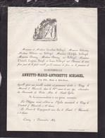 CINEY Annette SCHLOGEL 23 Ans En 1864 Faire-part Mortuaire - Décès