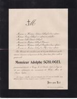 CINEY Adolphe SCHLOGEL 63 Ans 1898 Famille  BOSERET BLIJ Faire-part - Décès