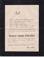 CINEY Adolphe SCHLOGEL 63 Ans 1898 Famille  BOSERET BLIJ Faire-part - Obituary Notices