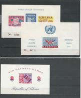 LIBERIA Scott C70a, 340a, C177 (3blocs Non Perforés) **  1952, 1968 - Liberia