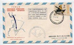 VUELO CONTINENTE AMERICANO SOBRE TRASPORTADO POR TA-05 AERONAUTICA ARGENTINA 1965 VIA AEREA - LILHU - Polar Flights