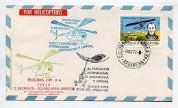 SOBRE POR HELICOPTERO HUGHES OH 6 A VUELO EL PALOMAR - SOCIEDAD RURAL ARGENTINA 1972 VIA AEREA CHOPPERS - LILHU - Polar Flights