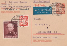 Deutsches Reich Danzig Postkarte 1939 Luftpost - Deutschland