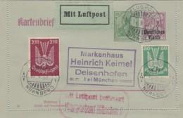 Deutsches Reich Luftpost Kartenbrief 1922 - Deutschland