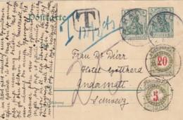 Deutsches Reich Postkarte 1907 + Porto Schweiz - Deutschland