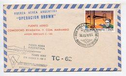 SOBRE PUENTE AEREO COMODORO RIVADAVIA V. COM. MARAMBIO AVION HERCULES C-130 1970 ARGENTINA VIA AEREA - LILHU - Vols Polaires