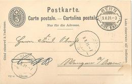 PK 26  Bern -  Wangen An Der Aare  (Rasierklingenstempel)          1901 - Interi Postali