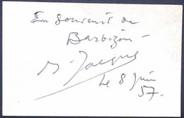 OPERA - Jacques Jansen, French Baryton-martin Singer Original Autograph Hand Signed Dedicacee 1957 En Little Card - Autographes