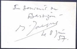 OPERA - Jacques Jansen, French Baryton-martin Singer Original Autograph Hand Signed Dedicacee 1957 En Little Card - Autógrafos