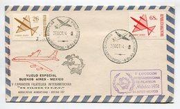 SOBRE VUELO ESPECIAL BUENOS AIRES - MEXICO, V EXPO INTERNACIONAL DE FILATELIA MEXICO 1974 ARGENTINA VIA AEREA - LILHU - Polare Flüge