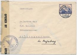 F27 / 387 Flugpostmarke Auf Zensurbrief Gelaufen Von BELLINZONA Nach DILLINGEN / DANUBE Bei Augsbrug - Switzerland