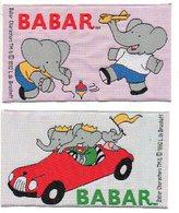 BABAR Motief 2 Stuks/  Om Op Kledij Te Naaien Motif à Coudre Sur Garment  Olifant Elefant Elephant 1992 Form. 11x6cm - Loisirs Créatifs