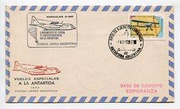 SOBRE HERCULES C-130 LANZAMIENTO DE CARGA Y CORRESPONDENCIA Y LA ANTARTIDA 1969 ARGENTINA VIA AEREA -LILHU - Vols Polaires