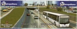 Lote P2009-17, Peru, 2009, Sello, Stamp, 2 V, Metropolitano, Bus Station - Perú