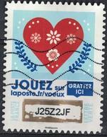 France 2018 Oblitéré Used Timbre à Gratter N° 3 Voeux Coeur Rouge Avec Motifs Floraux SU - France